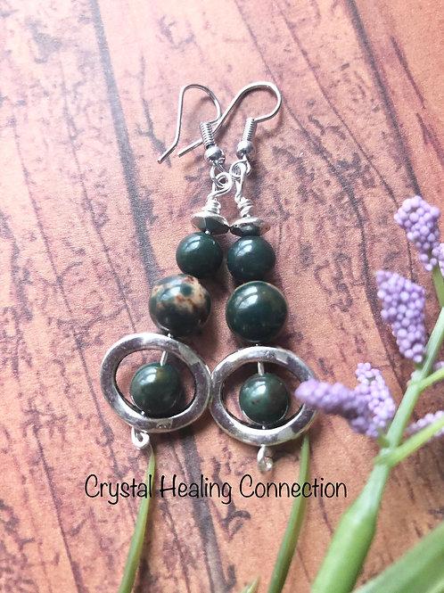 Bloodstone 3 Bead Circle Earrings