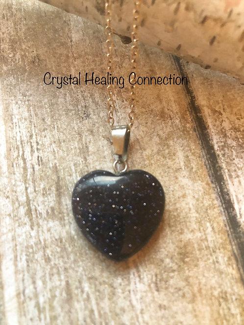 Blue Goldstone Mini Heart Necklace