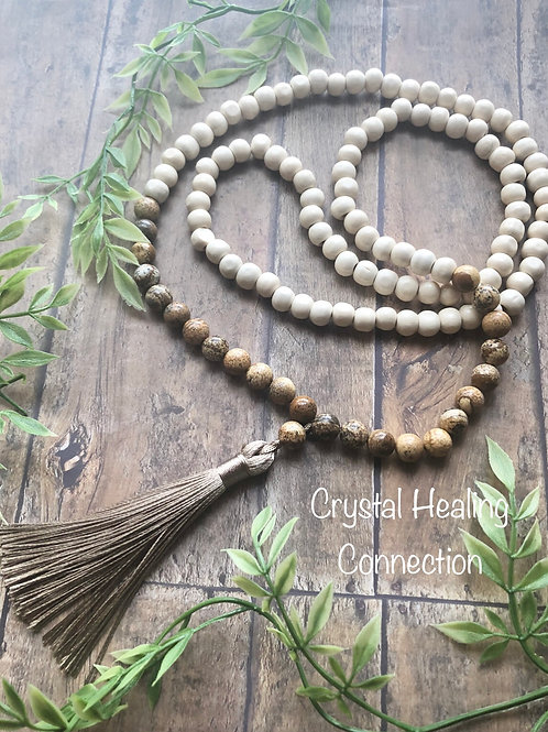 Picture Jasper and Wood Mala Necklace