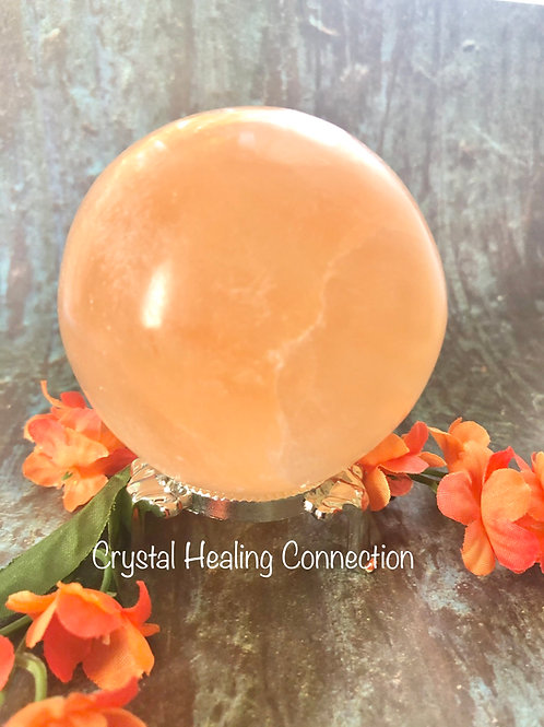 Peach Selenite 60mm Sphere with stand
