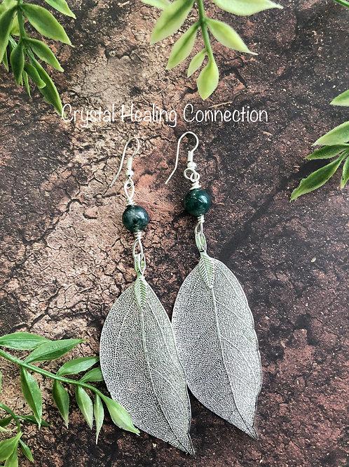 Moss Agate filagree Leaf Earrings