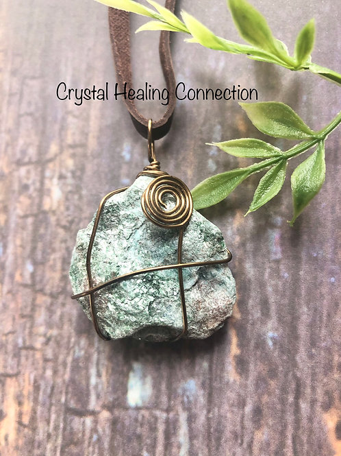 Wire Wrapped Natural Fuchsite Necklace