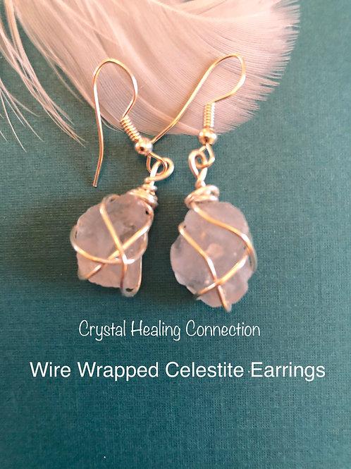 Wire Wrapped Celestite Earrings 1