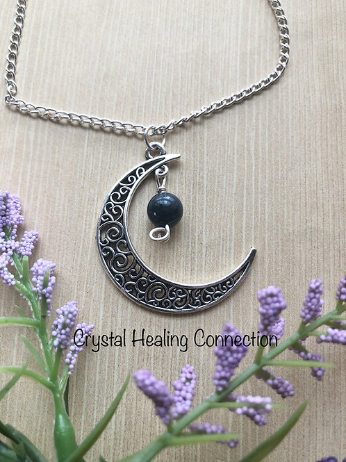 Dumortierite Moon Necklace