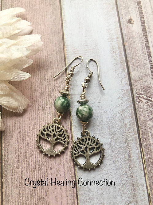 Tree Agate Tree of Life Earrings