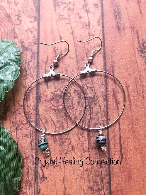 Blue Calsilica Loop Earrings
