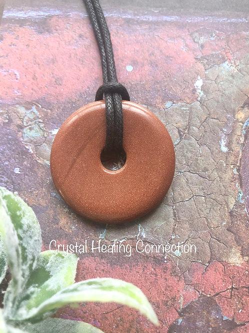 Goldstone Pi Stone Necklace