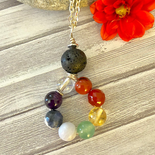 Chakra/ Lava Stone  Circle Diffuser Necklace