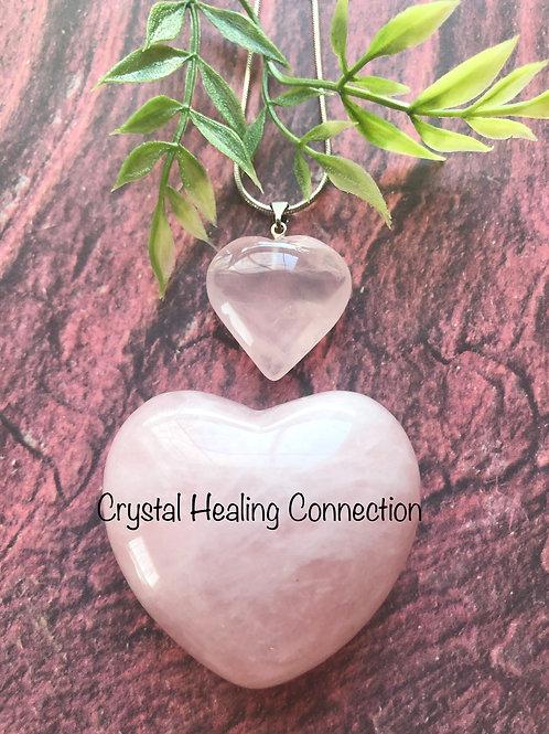 Rose Quartz Medium Heart Necklace