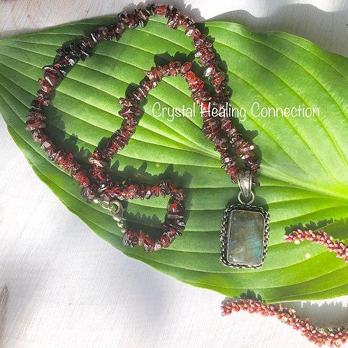 Garnet and Labradorite Necklace 18 inch