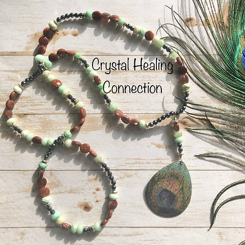 Chrysoprase Goldstone and Hematite Peacock Necklace