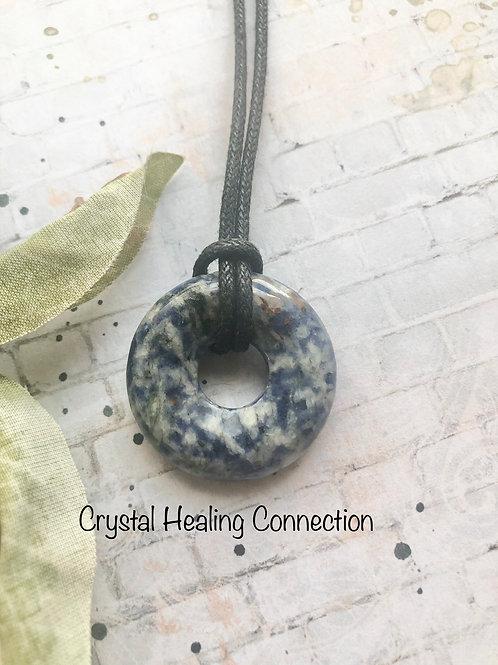 Blue Spot Stone Pi Stone Necklace