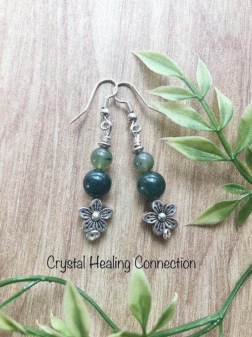 Moss Agate Flower Earrings
