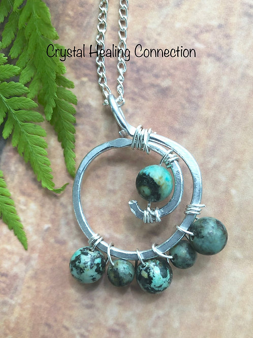African Turquoise Wire Wrapped Hammered Necklace