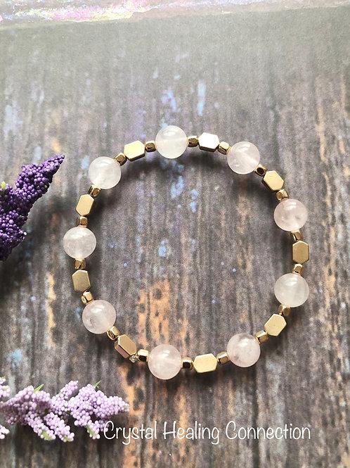Rose Quartz Gold Beaded Bracelet size 7 inches
