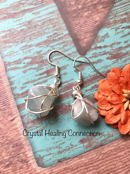 Tumbled Aquamarine Wire Wrapped Earrings