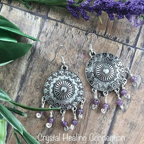 Lepidolite Boho Earrings