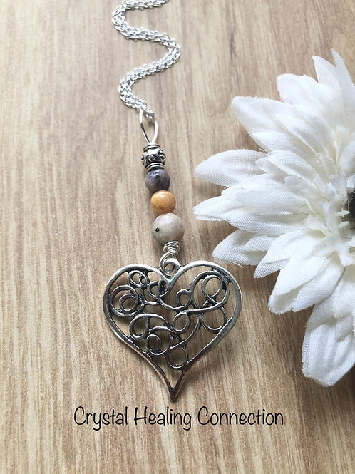 Flower Jasper Filagree Heart