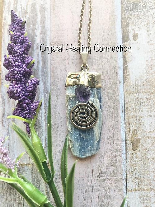 Kyanite and Amethyst Swirl Necklace