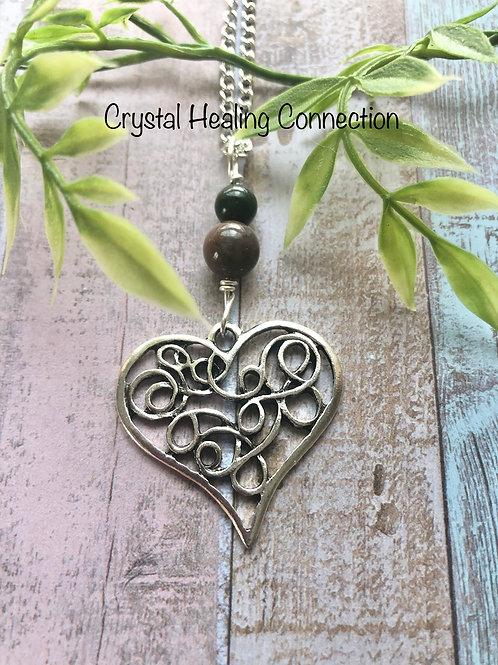 Bloodstone Filagree Heart Necklace