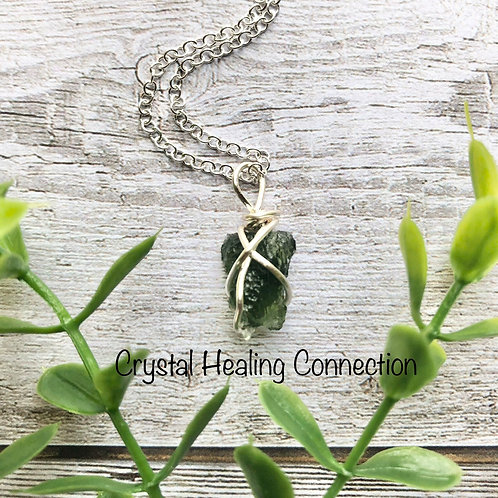 Moldavite Wire Wrapped Necklace