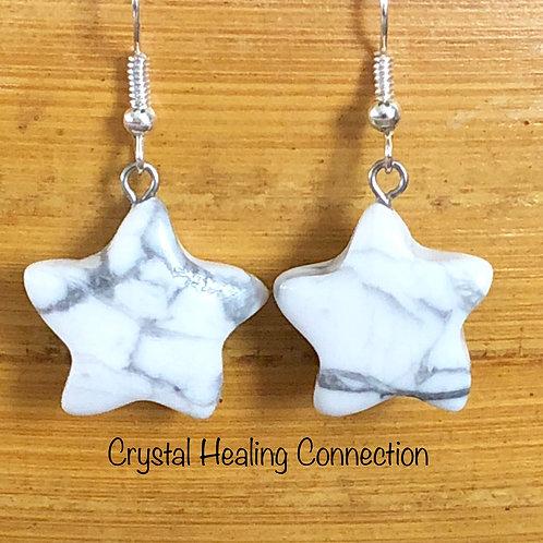 Howlite Star Earrings