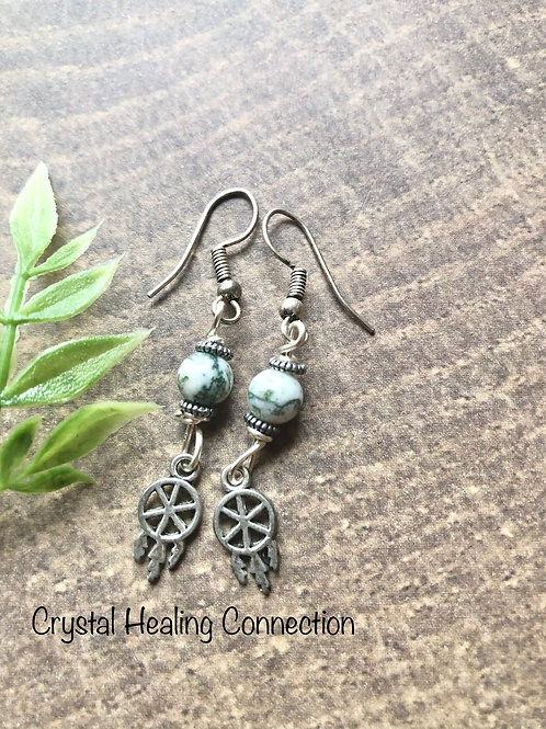 Tree Agate Dreamcatcher Earrings