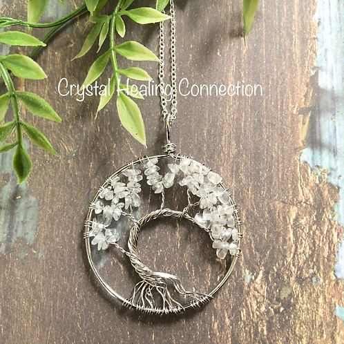 Clear Quartz Tree Of Life Necklace
