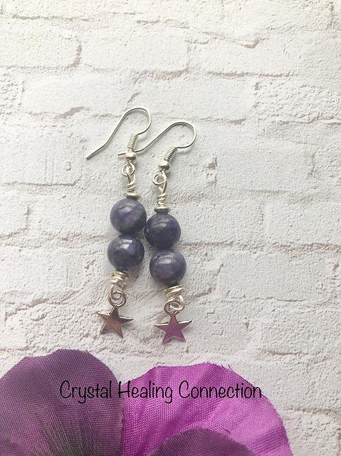 Charoite Star Earrings