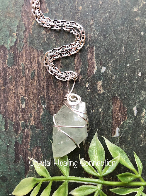 Wire Wrapped Green Calcite Necklace