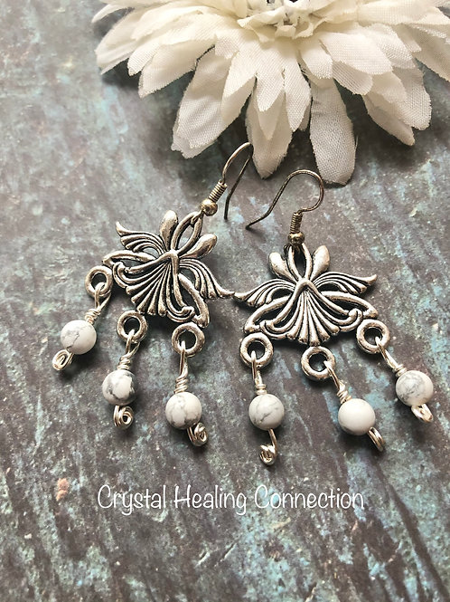 Howlite 3 Bead Boho Earrings