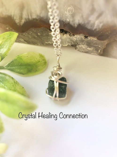 Small Moldavite Wire Wrapped Necklace