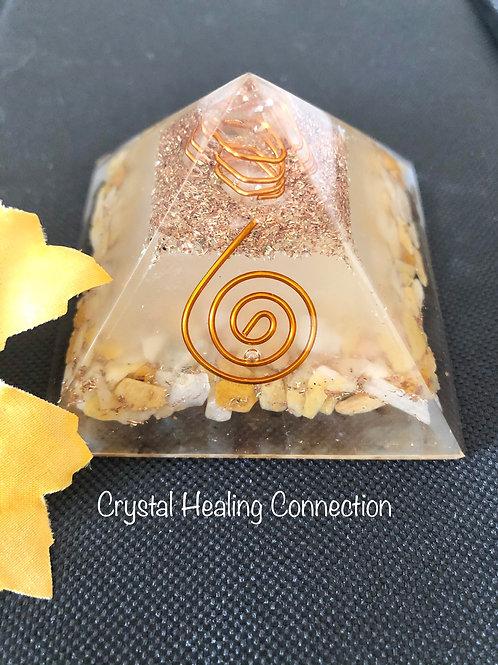 Yellow Jasper Glow Orgonite Pyramid
