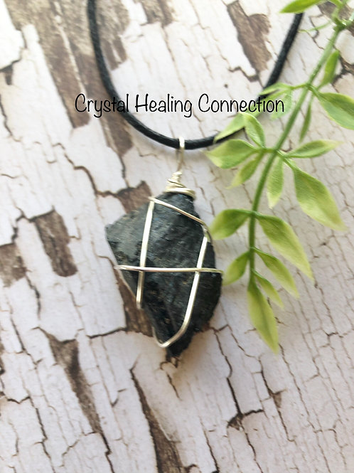Wire Wrapped Natural  Black Tourmaline Necklace