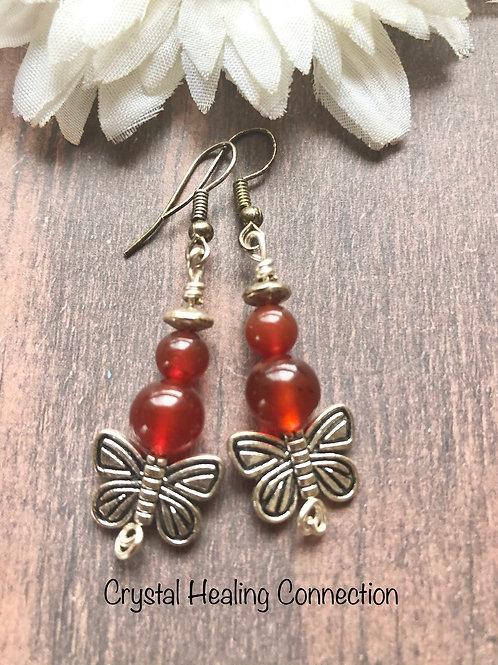 Carnelian Butterfly Earrings