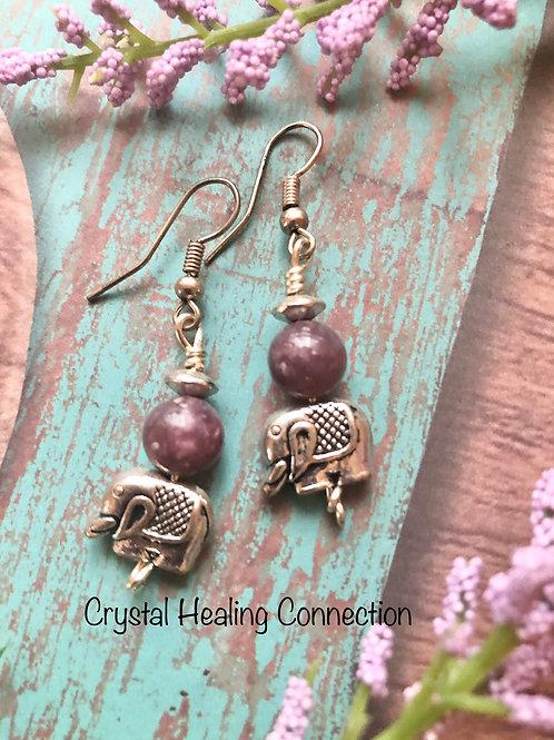 Lepidolite Elephant Earrings