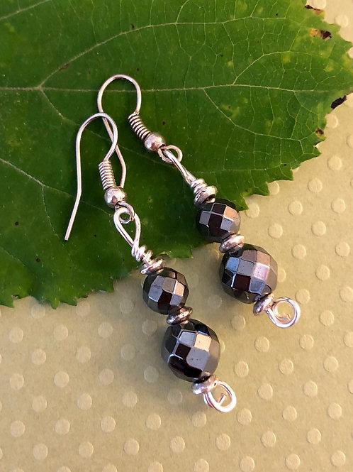 Faceted Hematite Earrings