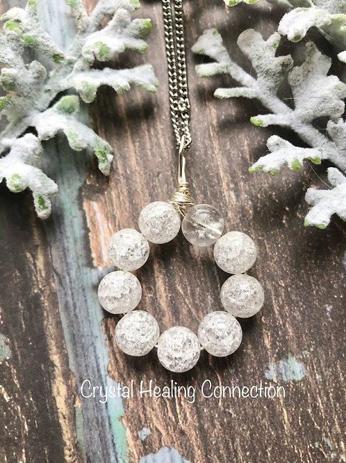 Crackle Quartz Beaded Circle Necklace