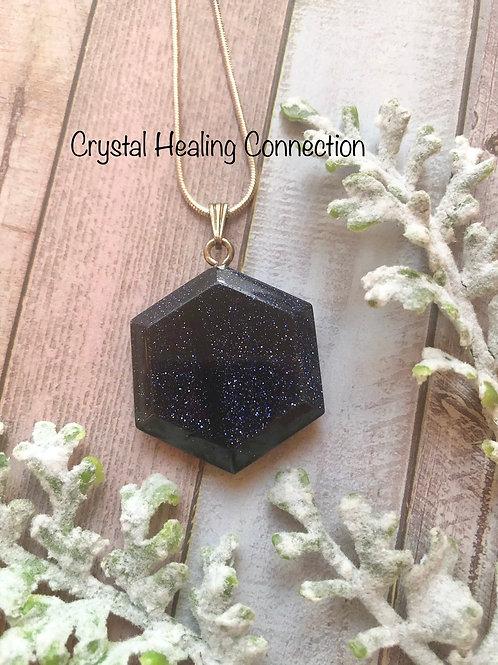 Blue Goldstone Hexagon Necklace