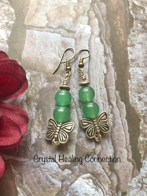 Green Aventurine Butterfly Earrings