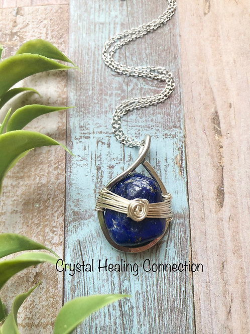 Lapis Lazuli Hammered Wire Wrapped Necklace
