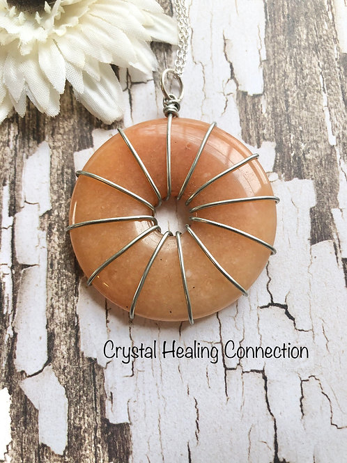 Peach Aventurine Wire Wrapped  Pi Stone Necklace
