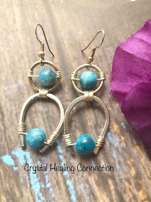 Blue Apatite Wire WrappedHorseshoe Earrings