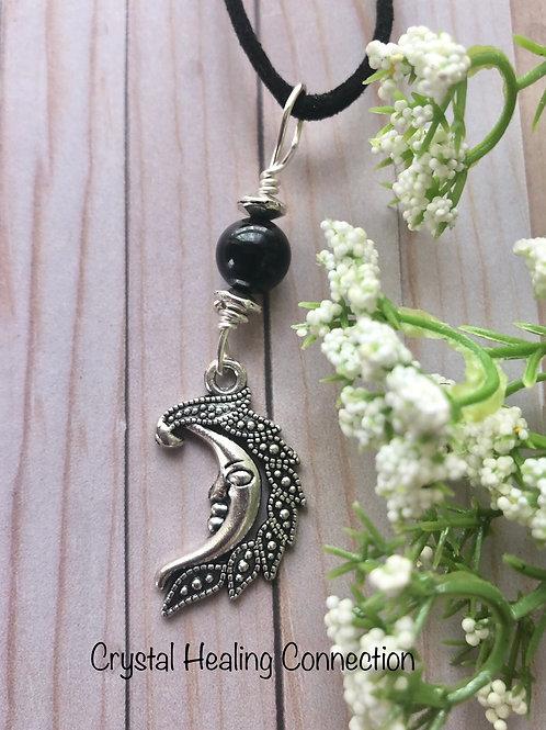 Black Tourmaline Moon Necklace