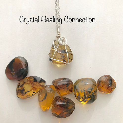 Wire Wrapped Baltic Amber Necklace