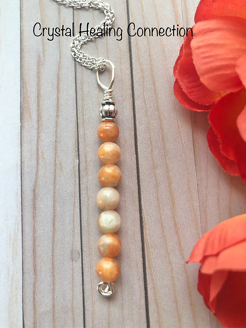 Orange Calcite 7 Bead Necklace
