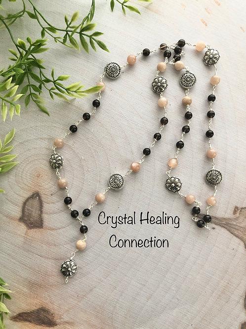 Pink Moonstone and Smokey quartz Long Necklace