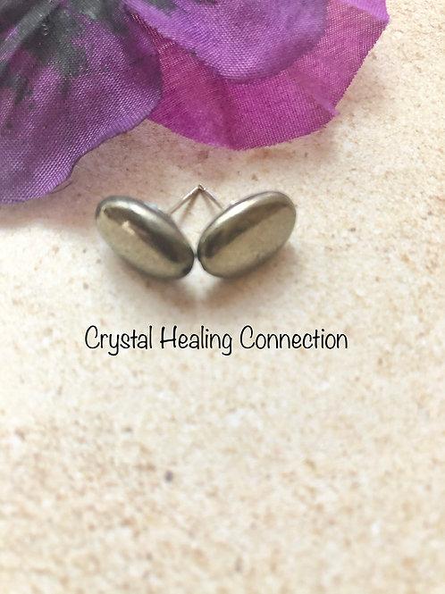 Pyrite Oval Stud Earrings