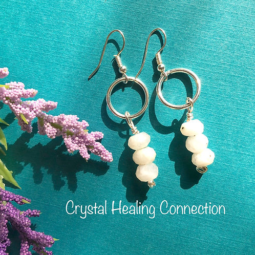 Rainbow Moonstone Faceted Wire Wrapped Earrings