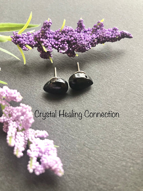 Jet Teardrop Stud Earrings